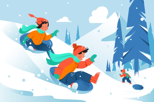 Kids with ice floe ride down the hill in forest.